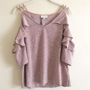 Lucky Brand Cold Shoulder Striped Top